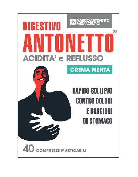 DIGESTIVO ANTONETTO ACIDITA&apos, E REFLUSSO CREMA ALLA MENTA 40 COMPRESSE MASTICABILI